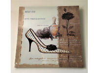 BRAND NEW - Vintage Perfume Shoes CANVAS WALL ART - Flower Rose Fashion Picture Print 50x50cm