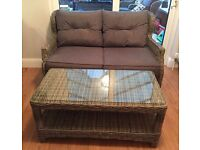 Rattan 2 Seater Chair and Table