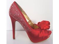 Casandra Red Satin Diamante Corsage Peep Toe Shoes Heels Stiletto size 5 (38) Rose