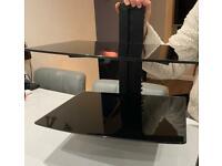 Black glass shelving unit