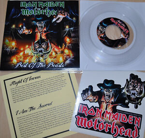 Iron-Maiden-Motorhead-7-single-Best-of-the-Beast-Pt-I-clear-vinyl-RARE