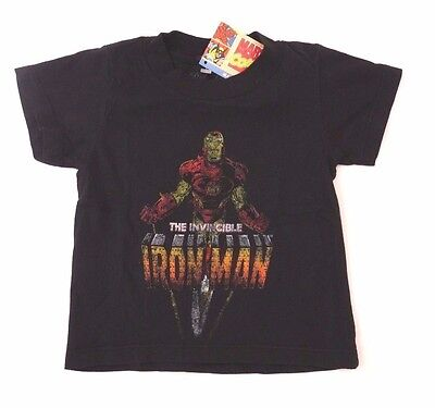 Marvel Comics Invincible Iron Man Toddler Boys Black T-Shirt Sizes 12M 18M 24M - Iron Man Toddler