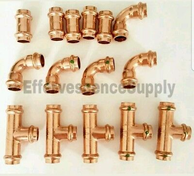 Lot Of 15 34 Propress Copper Fittings.tees Elbows Coupling - Press Fitting