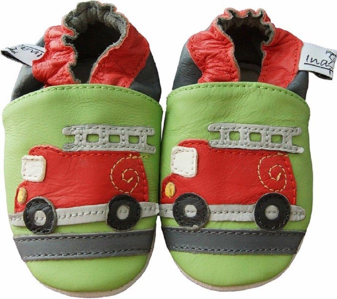 Baby Puschen Feuerwehrauto Größe 6 - 12 Monate - M - aus Echtleder NEU