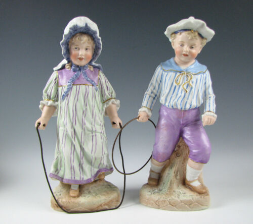 Antique Heubach German Bisque Porcelain Figurines Boy & Girl Playing