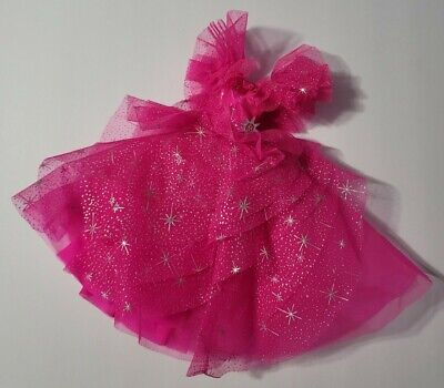 BARBIE DOLL CLOTHES PINK & SILVER TULLE RUFFLES FULL GOWN DRESS PARTY FASHION