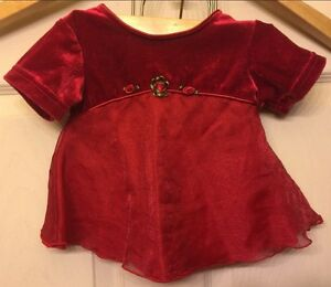 "Toddler Dress ""Gloria"" Sz 6m, Red Velvet and Red Shier over"