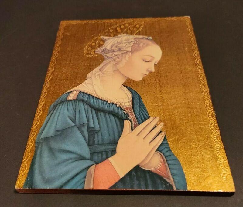 Vintage Florentine Italy Gold Wood Plaque  Portion Madonna & Child by  F. LIPPI