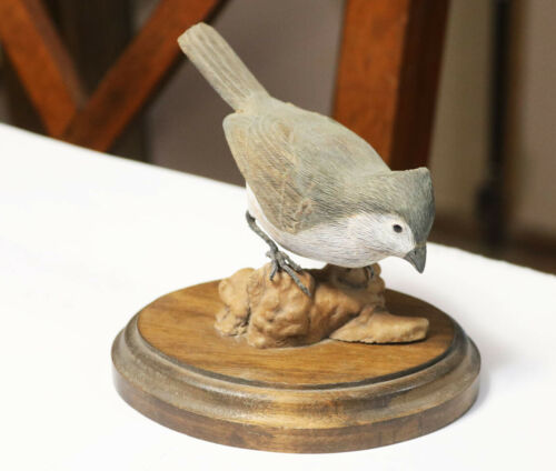 1959 Vintage Hand Carved Plain Titmouse Wood Bird Carving Signed Woodward