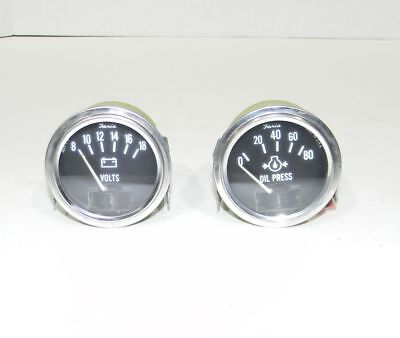 """Faria  2 1/16"""" Electrical Chrome Oil Pressure and Volt Gauges NEW"""