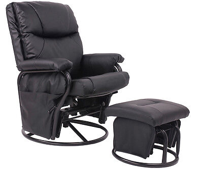 leather glider chair pu leather baby nursery swivel glider recliner rocking 16636 | $ 1