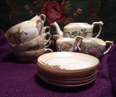 Vintage Lusterware Porcelain Child's Toy Tea Set 18pc (Japan)