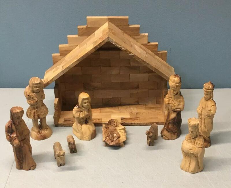 Handcarved Bethlehem Olive Wood Nativity Scene Figures and Manger 11pcs