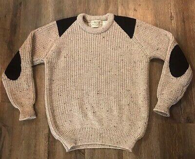 Aran Sweater Market Wool Knit Sweater Elbow Patches Beige Brown Mens Medium EUC