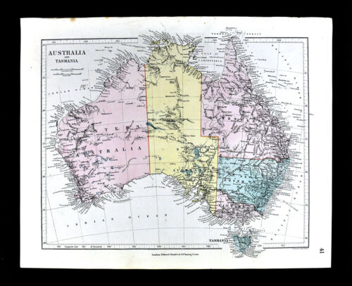 1885 Stanford Map Australia Sydney Melbourne Adelaide Brisbane Perth Antique