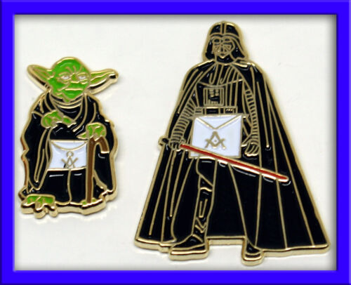 1 each Yoda and Darth Vader Masonic Pins