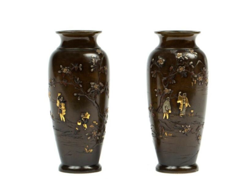 Pair Of Japanese Mixed Metal Vases, Signed Nogawa, Meiji Period