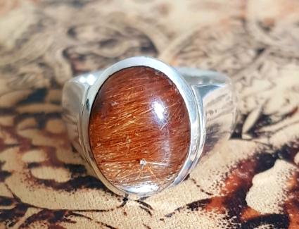 Golden Rutile Quartz Ring, size 9 US, Solid Silver, Angel Hair ♡