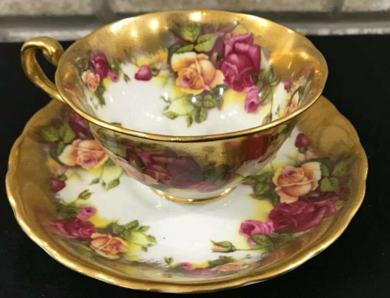 ROYAL CHELSEA HEAVY GOLD ENGLISH BONE CHINA CUP & SAUCER CABBAGE PINK ROSES
