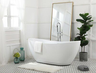 GLOSSY WHITE FREESTANDING MODERN ACRYLIC BATHTUBS BATHROOM SOAKING BATH TUB 67""