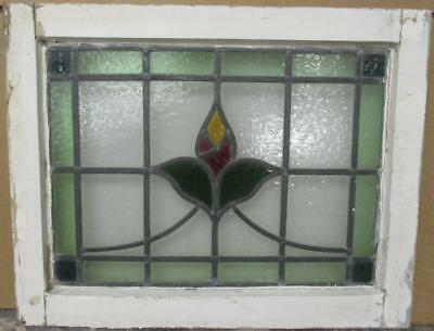 "OLD ENGLISH LEADED STAINED GLASS WINDOW Pretty Bordered Floral Sweep 21"" x 16.5"""