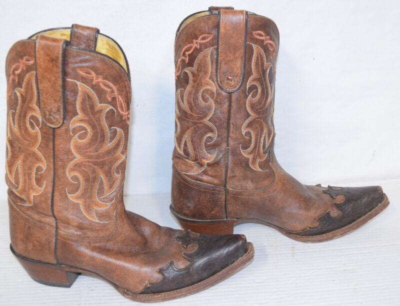 TONY LAMA Cowboy Western Boots 9 B Clay Santa Fe Vaquero VF6005 Tooled Wingtip