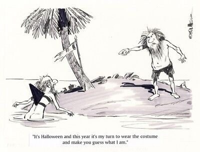 Original Gag Panel Strip Art Castaway Shark Halloween Costume B&W Bruce - Halloween Comic Strips