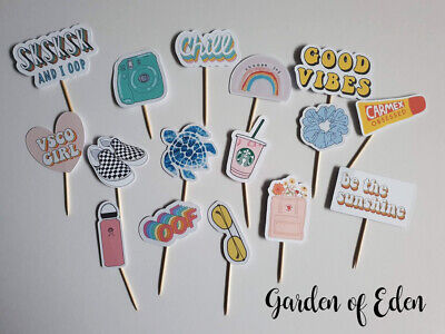 90s Themed Decorations (16 x VSCO GIRL THEMED CUPCAKE TOPPERS CAKE DECORATIONS FOOD PICKS TEENS 90S)