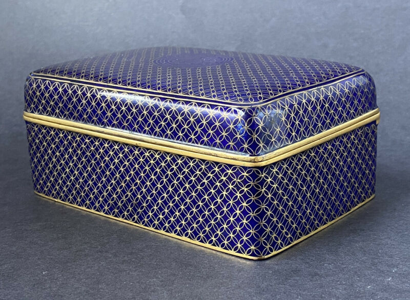 Antique Chinese Gilt Bronze blue Cloisonne Enamel Shou Symbol Box Qing c1900