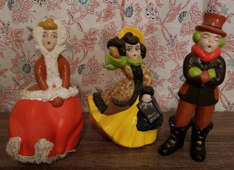 Vintage Atlantic Mold Ceramic Christmas Carolers Hand Painted - Lot of 3 70s EUC