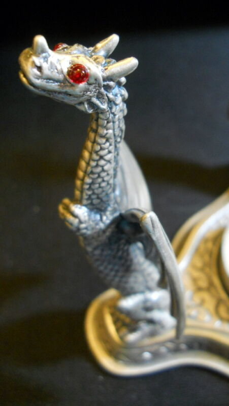 New Dragon Aromatherapy Diffuser Metal 3 Heads Red Rhinestone Eyes Wings Scales