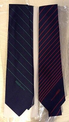 Vtg Textron Avco Lycoming Set Of 2 Blue W Red Stripes Other Green Stripe Ties
