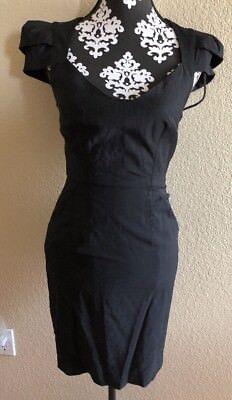 BEBE Preowned Black Bebe Cap Sleeve Dress Sz XS 2 Bebe Cap