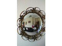 Vintage 50s brass and wooden convex mirror