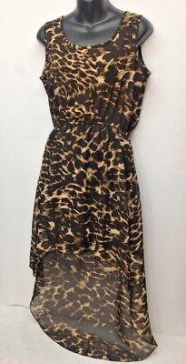 Indulge Gogo Apparel Animal Print Sleeveless High Low Dress Sheer Lined M Medium