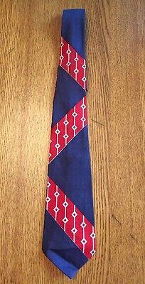1940s Mens Ties | Wide Ties & Painted Ties Vintage 1940s Red White & Blue Geometric Art Deco Men's Neck Tie EUC $15.99 AT vintagedancer.com