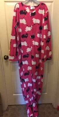 Womens One Piece Black White Sheep Sleeper Pajamas Footed Size Lg (Womens Sheep Pajamas)