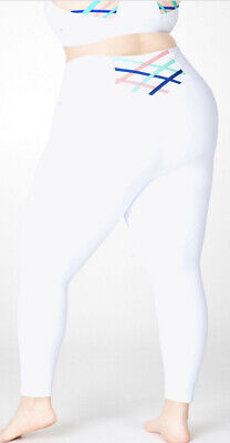 Fabletics Womens Kessler High-Waisted Strappy 7/8 Leggings Gym White 2XL NWT