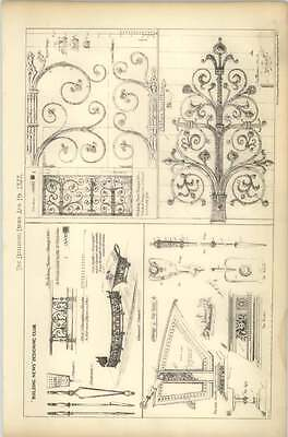 1878 Various Designs For Iron Hinges, Fender, Irons, Shovel