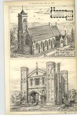 1878 Impington Hall, Gateway, Parish Church, Aber, North Wales