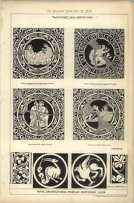 1878 Tile Pavement Drawings From Chertsey Abbey