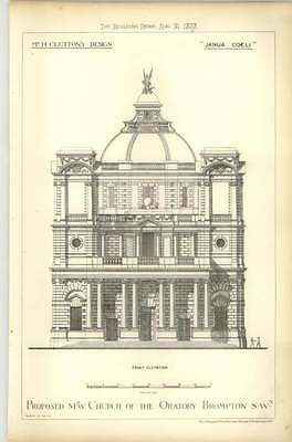 1878 Proposed New Church Of The Oratory Brompton, H Clutton Design