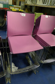 Purple Stacking Chrome Framed Stools in Used Condition (17 Available)