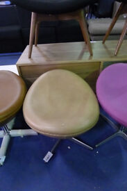 Light Brown Leather Foot Stool in the style of Arne Jacobsen Egg Chair