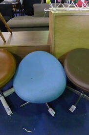 Blue Fabric Upholstered Foot Stool in the style of Arne Jacobsen Egg Chair.