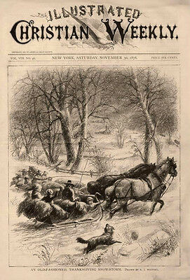 An Old Fashioned, Thanksgiving Snow Storm  -   by E. J. Whitney    -    1878