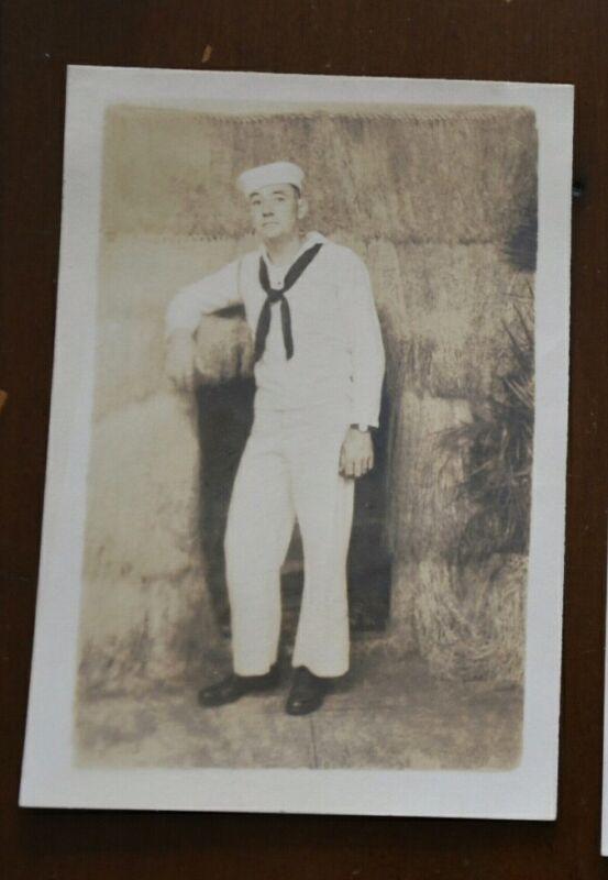 WWII 1940s US Navy sailor Hawaii,  Grass Hut, arcade   Photo