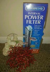 Interpet pf3 internal fish tank filter plus aquarium ornaments