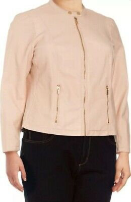 NWT MSRP $139 Women's Calvin Klein Faux Leather Jacket Blazer Blush 0X 10 12