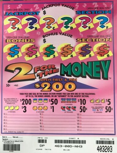 """Pull Tab Ticket """"2 FOR THE MONEY"""" 1540ct  $218.00 PROFIT w/FREE Shipping!"""